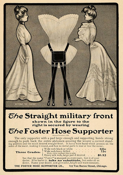 1901 Vintage Corset Training Corset Ad Victorian:Edwardian - Foster Hose Supporter Military Front