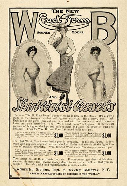1901 Vintage Corset Training Corset Ad Victorian:Edwardian - Weingarten Brothers Shirt Waist Corsets