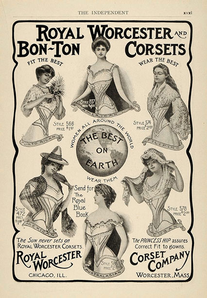 1903 Vintage Corset Training Corset Ad Early Edwardian - Royal Worcester Bon-Ton Corsets
