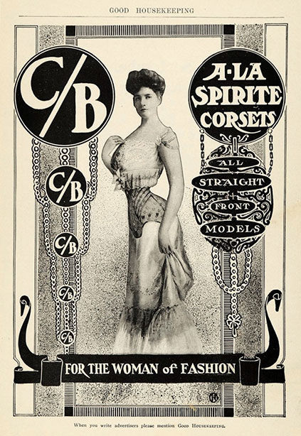 1904 Vintage Corset Training Corset Ad Edwardian - Woman of Fashion C:B Corsets Straight Front