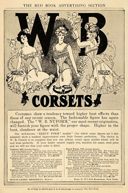 1905 Vintage Corset Training Corset Ad Edwardian - Nuform Erect Form Corsets Weingarten Brothers