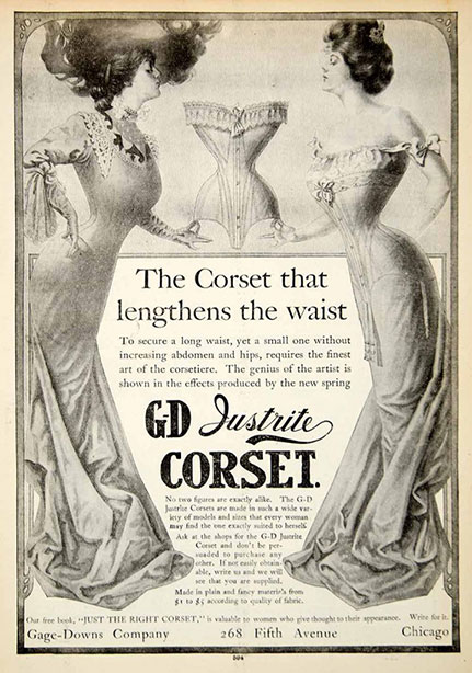 1906 Vintage Corset Training Corset Ad Edwardian - Gage Downs Justrite Corset 268 Fifth Ave Chicago IL