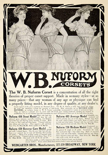 1906 Vintage Corset Training Corset Ad Edwardian - Weingarten Bros Nuform Corset