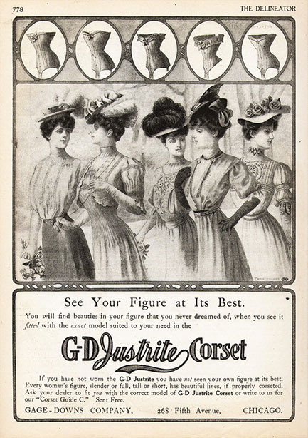 1907 Vintage Corset Training Corset Ad Late Edwardian - Gage Downs Justrite Corset Company