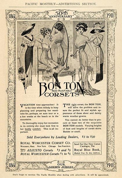 1911 Vintage Corset Training Corset Ad Edwardian:Georgian - Bon Ton Royal Worcester Corsets