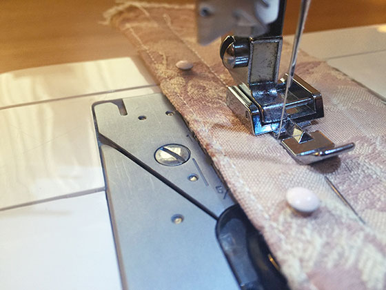 Sewing in the knob side