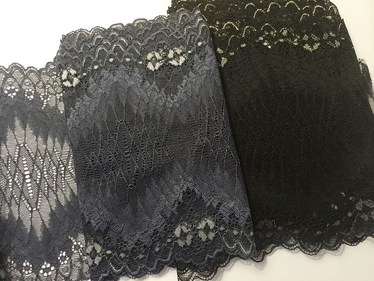 Lace for overlaying on corset patterns in black and vintage blue