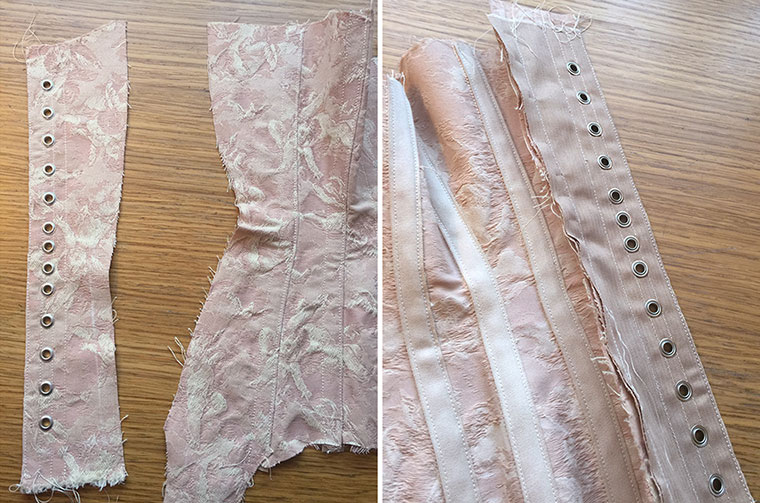 Sewing the corset pattern together - back piece.