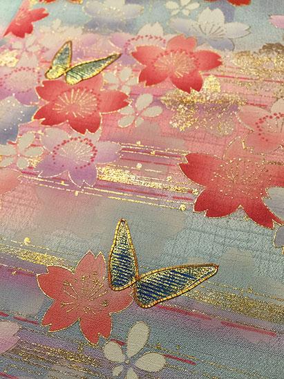 Vintage kimono fabric detail - hand coaching