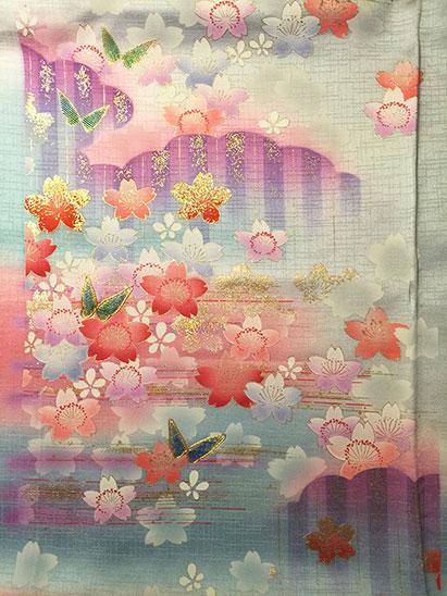 Vintage kimono fabric light part
