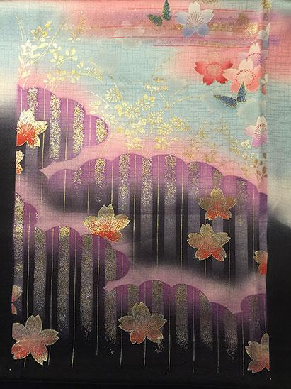 Vintage kimono fabric dark part