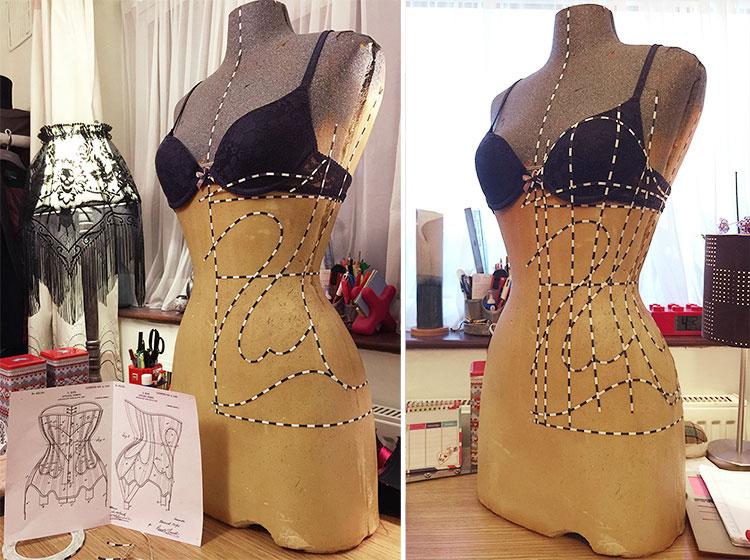 Drafting the Kops heart corset pattern