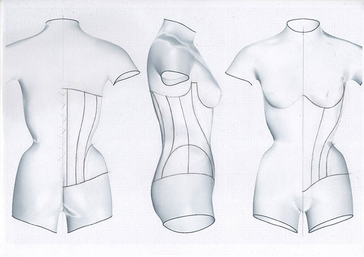 corset pattern drawing