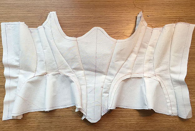 CAD Corset Pattern sewn together