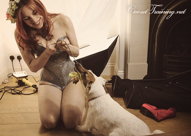 Me in my pants, ooh er, messing about on the Valentine's corset pattern shoot