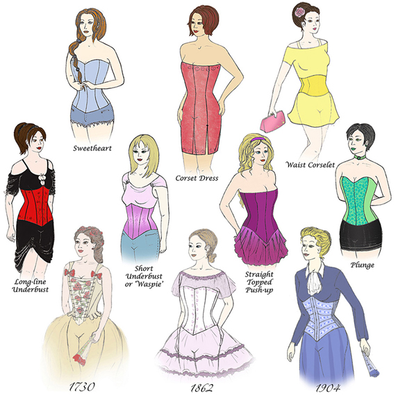 Illustrations of 10 of the 11 Patterns in the Corset Pattern Compendium (you also get the one on the cover)
