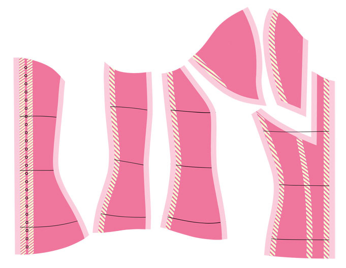 cupid corset pattern pieces
