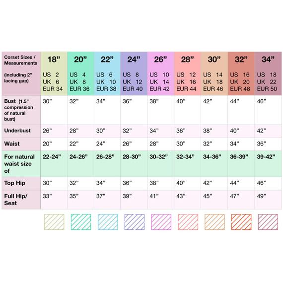 Scarlett Corset Pattern Size Chart